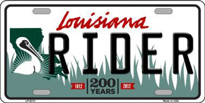 Rider Louisiana Novelty Metal License Plate