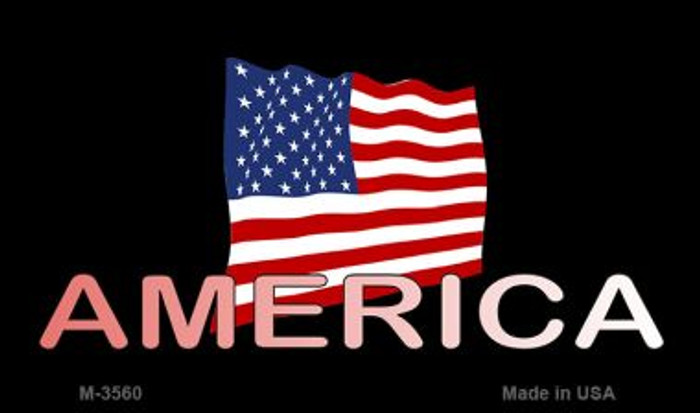 America with Flag Novelty Metal Magnet M-3560