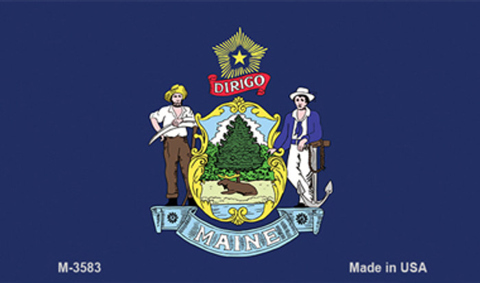 Maine State Flag Novelty Metal Magnet M-3583