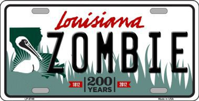 Zombie Louisiana Novelty Metal License Plate LP-6749