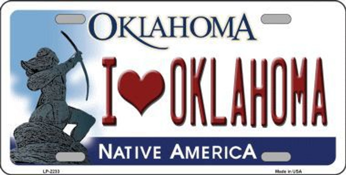 I Love Oklahoma Novelty Metal License Plate LP-6233