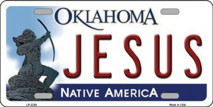 Jesus Oklahoma Novelty Metal License Plate
