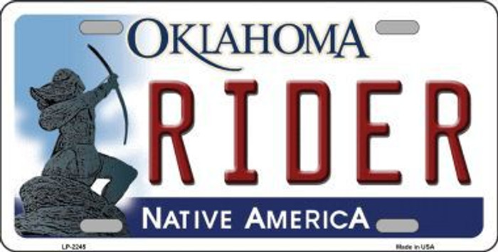 Rider Oklahoma Novelty Metal License Plate LP-6245