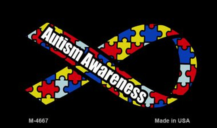 Autism Awareness Ribbon Novelty Metal Magnet M-4667