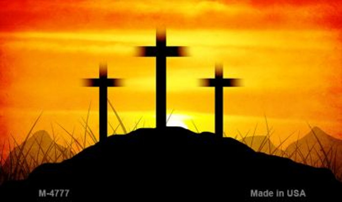 3 Sunset Crosses Novelty Metal Magnet M-4777