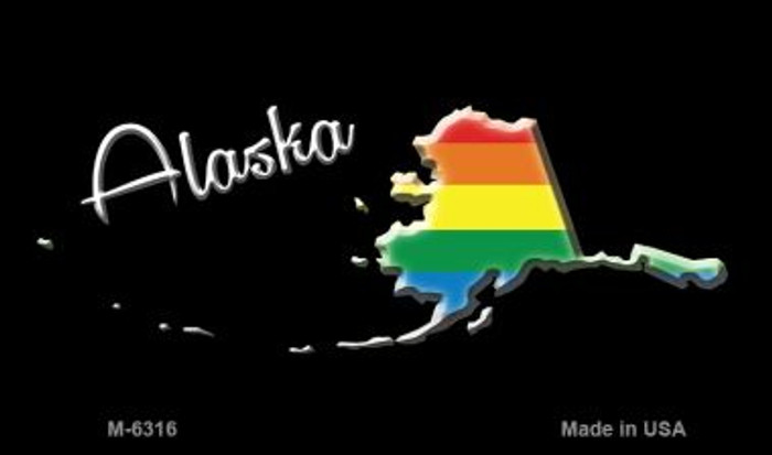 Alaska State Outline Rainbow Novelty Metal Magnet M-6316