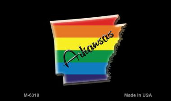 Arkansas State Outline Rainbow Novelty Metal Magnet M-6318