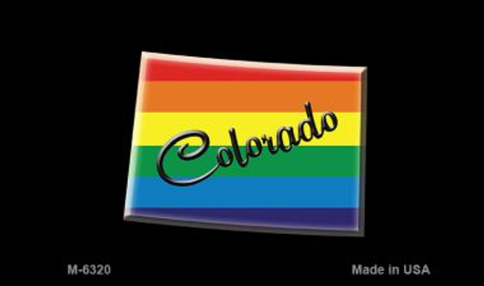 Colorado State Outline Rainbow Novelty Metal Magnet M-6320