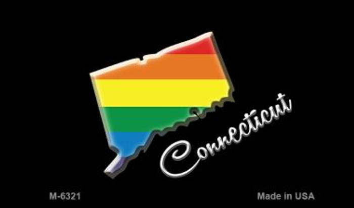 Connecticut State Outline Rainbow Novelty Metal Magnet M-6321