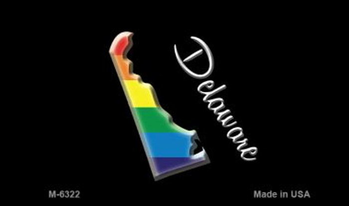Delaware State Outline Rainbow Novelty Metal Magnet M-6322