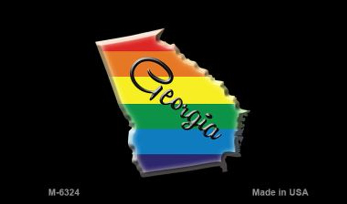 Georgia State Outline Rainbow Novelty Metal Magnet M-6324