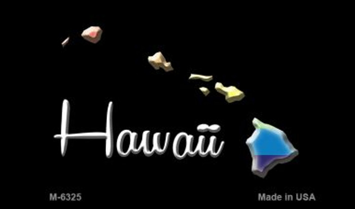 Hawaii State Outline Rainbow Novelty Metal Magnet M-6325