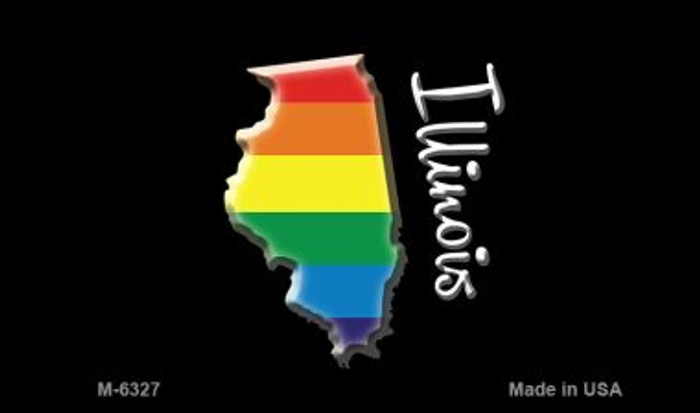 Illinois State Outline Rainbow Novelty Metal Magnet M-6327