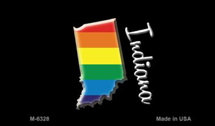 Indiana State Outline Rainbow Novelty Metal Magnet M-6328
