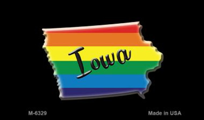Iowa State Outline Rainbow Novelty Metal Magnet M-6329