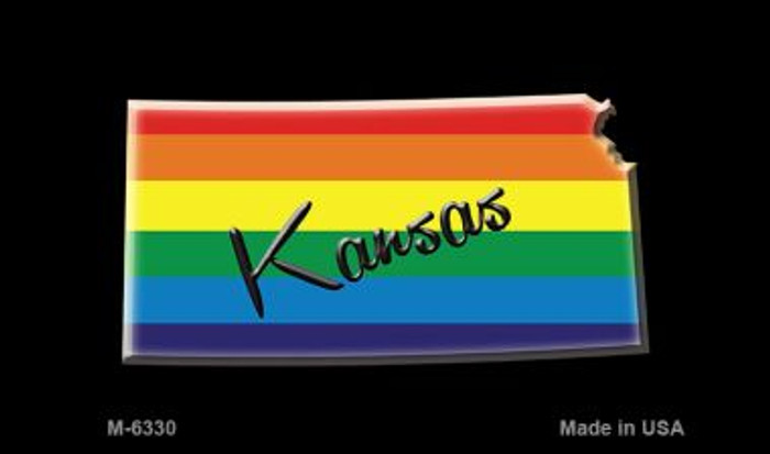 Kansas State Outline Rainbow Novelty Metal Magnet M-6330