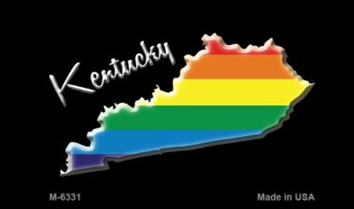 Kentucky State Outline Rainbow Novelty Metal Magnet M-6331