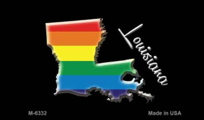 Louisiana State Outline Rainbow Novelty Metal Magnet M-6332