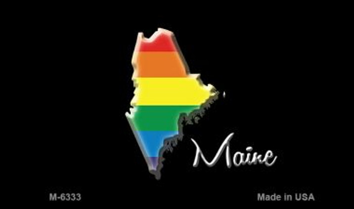 Maine State Outline Rainbow Novelty Metal Magnet M-6333
