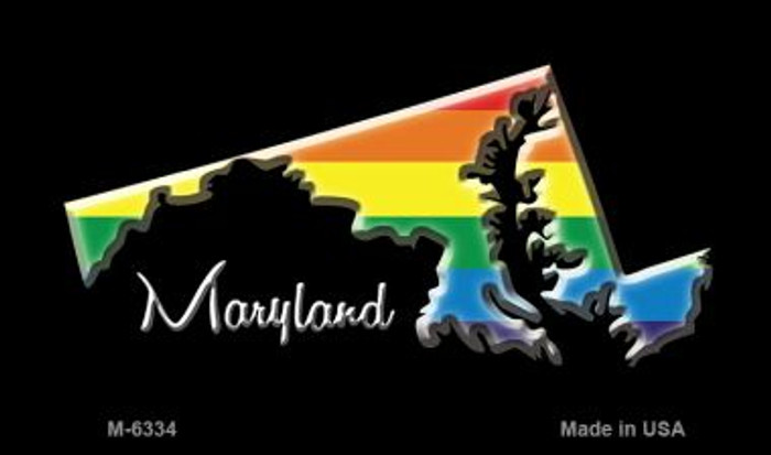 Maryland State Outline Rainbow Novelty Metal Magnet M-6334
