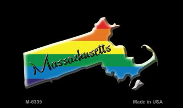 Massachusetts State Outline Rainbow Novelty Metal Magnet M-6335