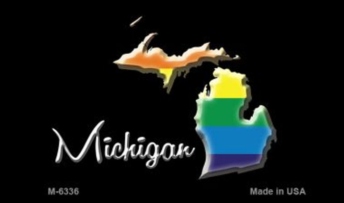 Michigan State Outline Rainbow Novelty Metal Magnet M-6336