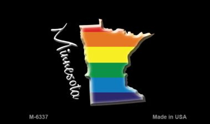 Minnesota State Outline Rainbow Novelty Metal Magnet M-6337