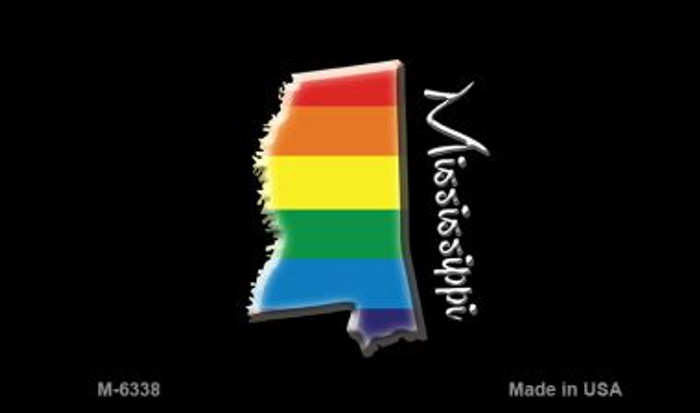 Mississippi State Outline Rainbow Novelty Metal Magnet M-6338