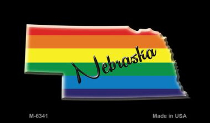 Nebraska State Outline Rainbow Novelty Metal Magnet M-6341