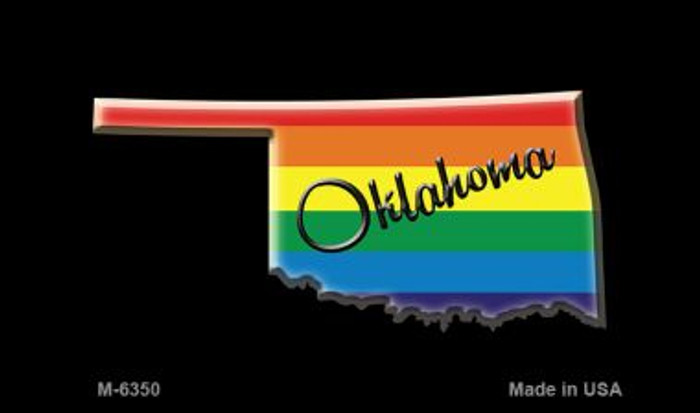 Oklahoma State Outline Rainbow Novelty Metal Magnet M-6350