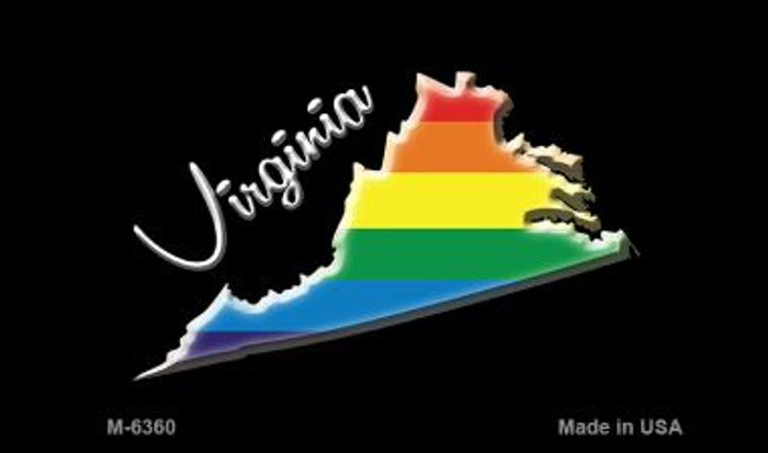Virginia State Outline Rainbow Novelty Metal Magnet M-6360