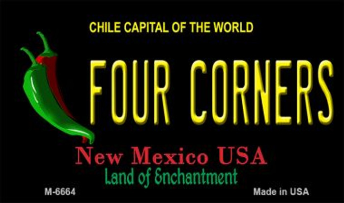 Four Corners Black New Mexico Novelty Metal Magnet M-6664