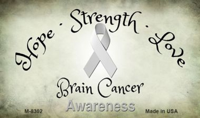 Brain Cancer Ribbon Novelty Metal Magnet M-8302