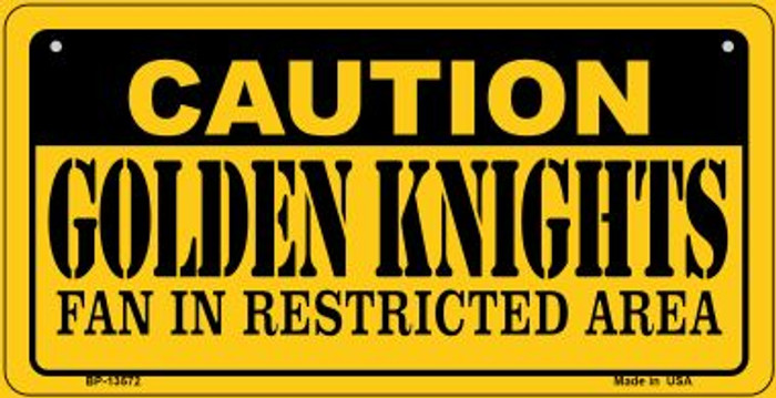Caution Golden Knights Novelty Metal Bicycle Plate BP-13572
