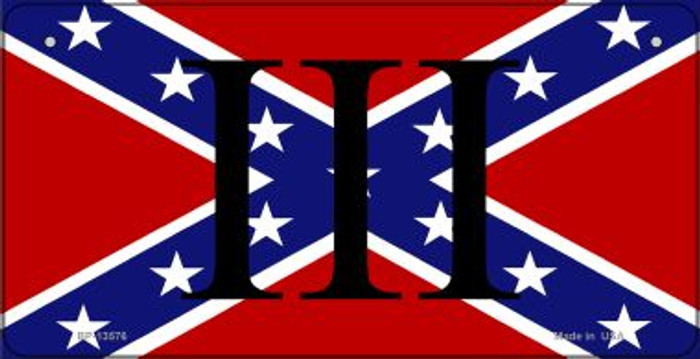 3 Percenter Confederate Novelty Metal Bicycle Plate BP-13576