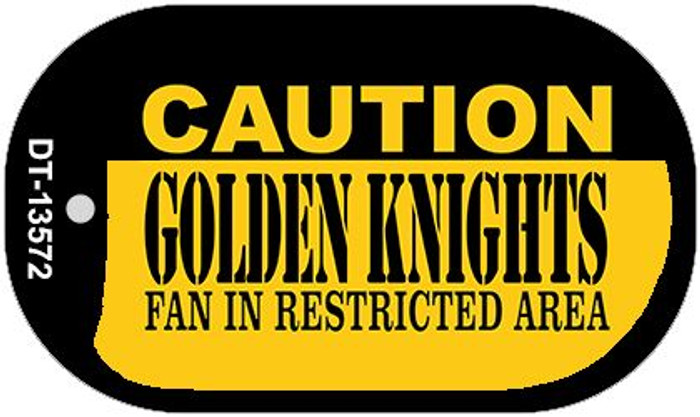 Caution Golden Knights Novelty Metal Dog Tag Necklace DT-13572