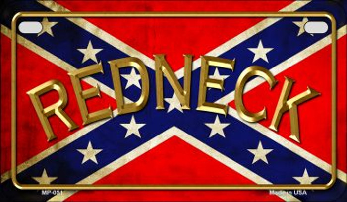 Confederate Redneck Novelty Metal Motorcycle Plate MP-051
