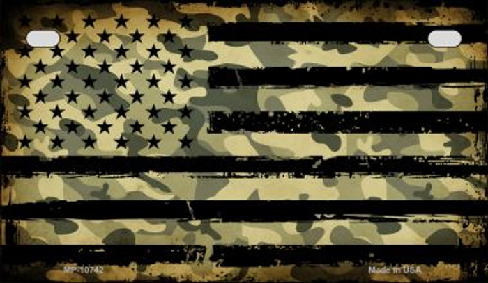 American Camo Flag Novelty Metal Motorcycle Plate MP-10742