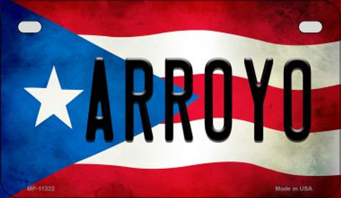 Arroyo Puerto Rico State Flag Novelty Metal Motorcycle Plate MP-11322