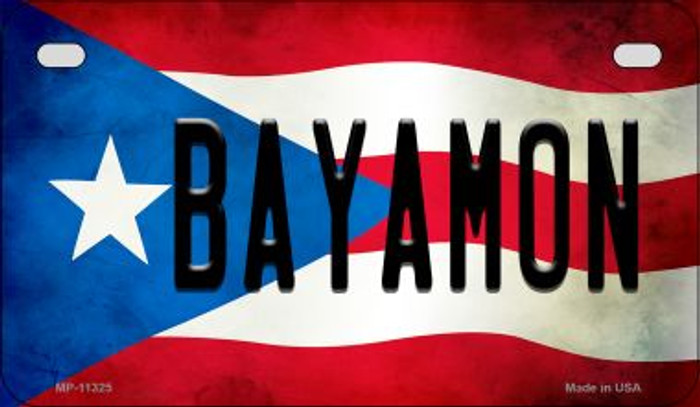 Bayamon Puerto Rico State Flag Novelty Metal Motorcycle Plate MP-11325