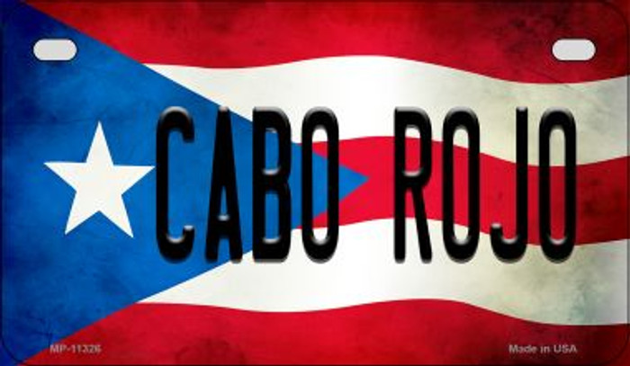Cabo Rojo Puerto Rico State Flag Novelty Metal Motorcycle Plate MP-11326