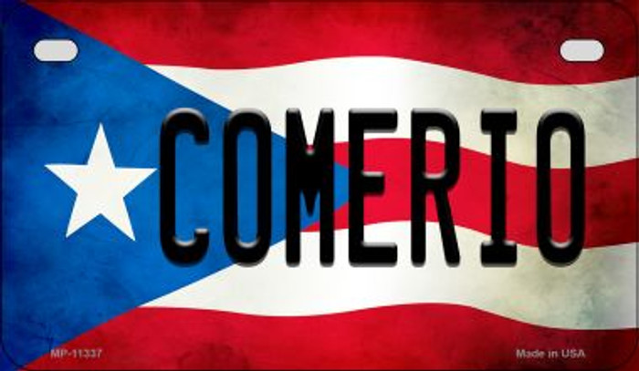 Comerio Puerto Rico State Flag Novelty Metal Motorcycle Plate MP-11337