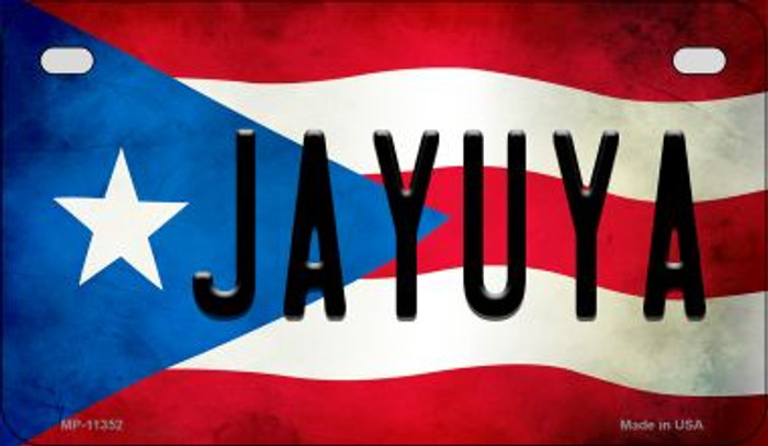 Jayuya Puerto Rico State Flag Novelty Metal Motorcycle Plate MP-11352