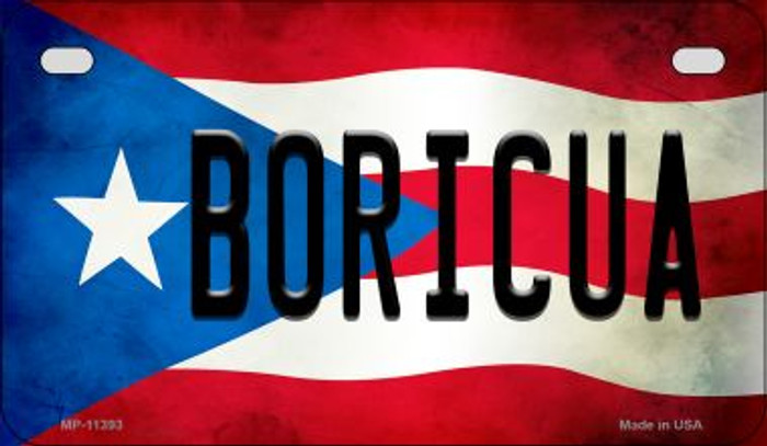 Boricua Puerto Rico State Flag Novelty Metal Motorcycle Plate MP-11393