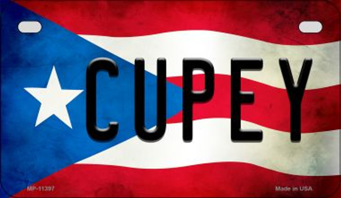 Cupey Puerto Rico State Flag Novelty Metal Motorcycle Plate MP-11397