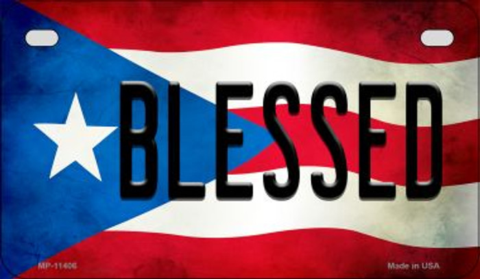 Blessed Puerto Rico State Flag Novelty Metal Motorcycle Plate MP-11406