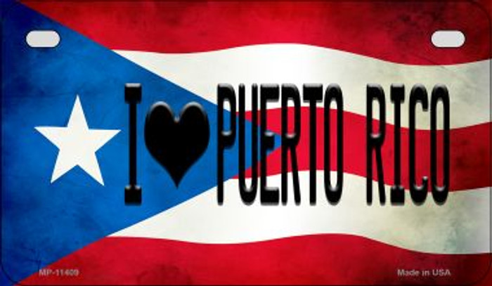 I Love Puerto Rico Puerto Rico State Flag Novelty Metal Motorcycle Plate MP-11409