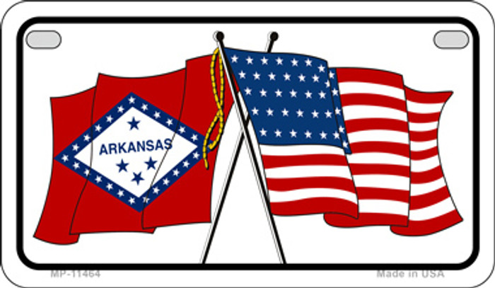 Arkansas / USA Flag Novelty Metal Motorcycle Plate MP-11464