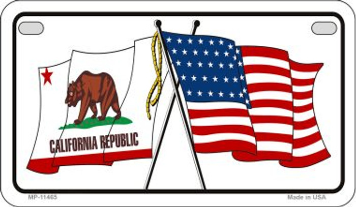 California / USA Flag Novelty Metal Motorcycle Plate MP-11465