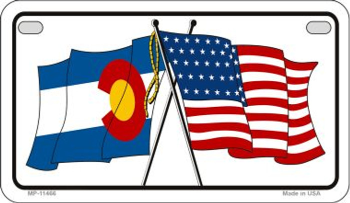 Colorado / USA Flag Novelty Metal Motorcycle Plate MP-11466